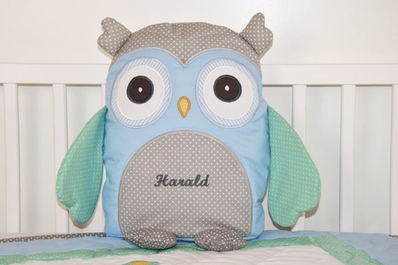 Owl Pillow Plush Animal, Stuffed Bird, Decorative Cuddly Toy, Toddler Gift, Baby Shower Gift