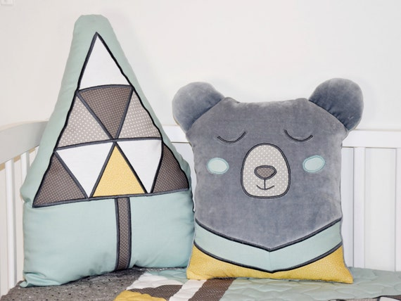 Bear Pillow, Woodland Cushion, Teddy Plush