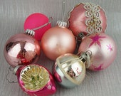 7 Kitsch Mixed Striped Pink Glass and Plastic Round Christmas Baubles with Glitter Christmas Decorations