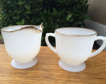 SALE!!!-Vintage Fire King Sugar Bowl and Creamer,  Fire King White Swirl Milk Glass with Gold Rim