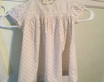 1950's Loomcraft Vintage Antique Baby Dress Pink Flowers