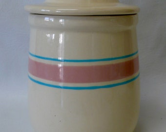 Vintage McCoy Pottery Canister #135  Pink & Blue Stripes Bands W/ Lid Stonecraft Tea Canister