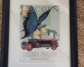 Vintage Auto Advertisement- vintage Lincoln Motor Ad- Framed Automobile Art