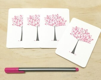 Mini Gift Card Pack + Envelopes - Pink Cherry Blossom Tree - Set of 4 Rounded White Small Cards - GC05