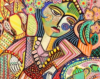 Bohemian Tea Garden Woman )( SILBERZWEIG ORIGINAL PAINTINGS -Folk Post-Impressionism Boho - Vintage France Europe, Lady, Wine, Bar, Cafe