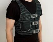 wasteland holster style punk vest from black vintage denim featuring hand stitching