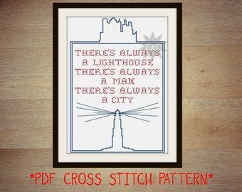 Bioshock Infinite lighthouse counted cross stitch sampler pattern