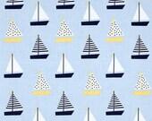 Dear Stella fabric SAILBOATS on Blue