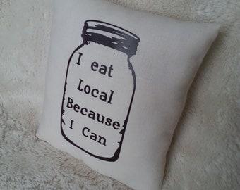 Mason Jar Pillow, Canning, Eat Local