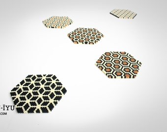 IYU-IYU 5 Glass Coasters GEOMETRICA Iron-On Beads
