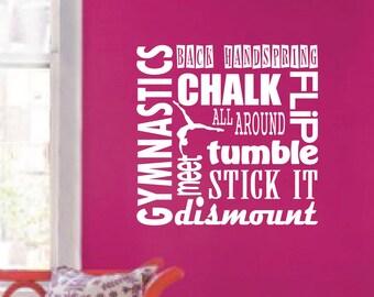 Gymnastics Sport Girl Saying Back Handspring Chalk Flip Tumble Dismount Olympics Wall Decal Sticker Art Mural Home Decor Teen Quote  #1305
