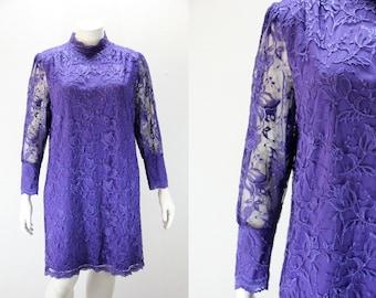 Plus Size Vintage Dress - Purple Lace Dress w Long Sleeves
