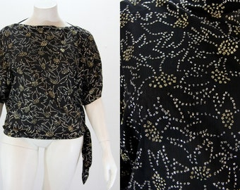 Plus Size Sparkle Blouse - Gold and Silver on Black Glitter Top