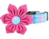 ON SALE Ready to SHIP- Pink Blue Aqua Plaid Collar and Flower/  Girl Plaid Flower Dog Collar: Country Girl Plaid