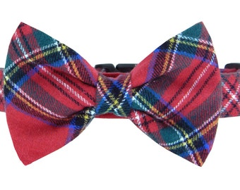 Red Blue Green Flannel Plaid Bow Tie Dog Collar/ Flannel Dog Collar and Bow Tie Set: Timber Flannel