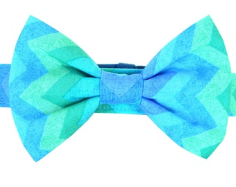 Aqua Blue Mint Chevron Bow Tie Dog Collar; Pastel Dog Bow Tie and Collar: Chevron Breeze