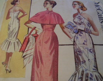 RARE Vintage 1950's McCall's 3693 Dress and Cape Sewing Pattern, Size 12, Bust 30