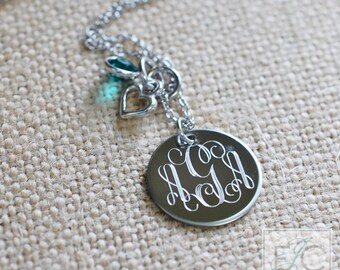 engraved monogram birthstone and charm necklace | vine font