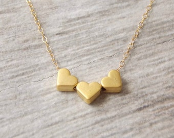 Gold Filled Triple Heart charm necklace . charm necklace, boho,ocean,heart,layering necklace,love jewelry.