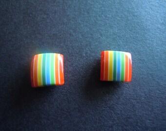 Rainbow Acrylic Square Stud Earrings Vintage