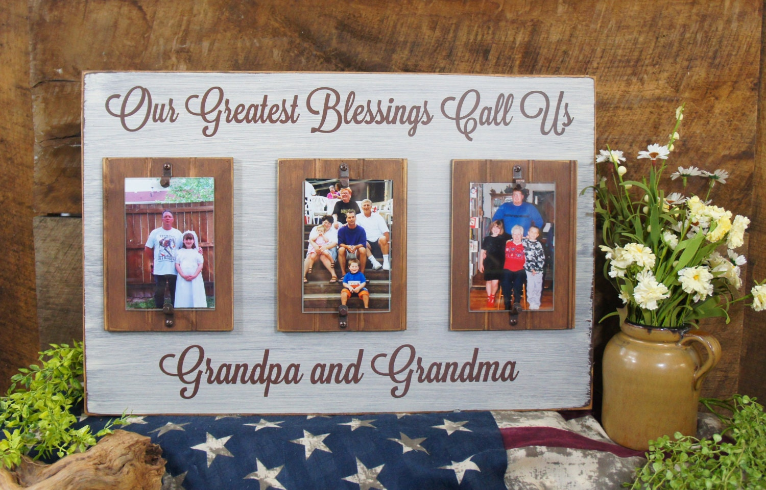 our greatest blessings call us grandpa grandma rustic style picture frame for grandparents saying 16x24 4x6 photos word changes are free