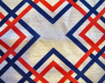 1970's Red White and Blue Modern Geometric, Modern, Red, White, Blue, Modern, Curtian Fabric, 1970's, 1960's, Decorator Weight, Cotton