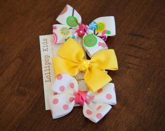 Hair Bow Set  Hair Clips Cup Cake Bow Set Baby Hair Clips Kids Hair Clips Kids Hair Clips Lollipop Hair Clips