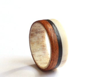Antler Ring, Mahogany Ring With Ebony Inlay, Men Antler Wedding Band