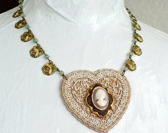 Antique Carved Shell Cameo Victorian Carved Filigree Heart Enamel Rose Necklace