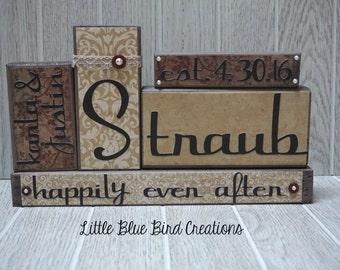 Wedding wood blocks - family name blocks - newlyweds - personalized wood blocks - home decor - wood sign