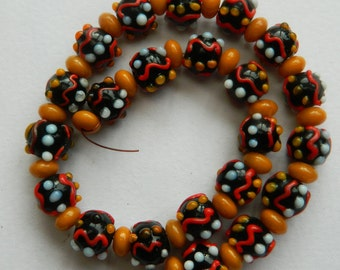 13 Inch Strand Vintage Tribal Lampwork Beads,Indonesian trade beads,Bee's wax rondelle