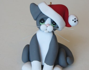 Gray White Tuxedo Cat Christmas Ornament Figurine Polymer Clay Sculpture