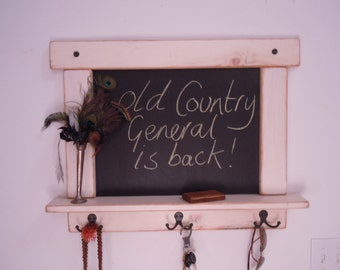 Rustic Chalk Board in White Wash Distressed and Antiqued with Shelf and Hooks
