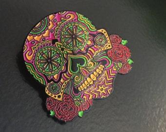 Psychedelic Sugar Skull pin by Nathaniel Deas