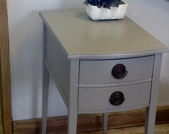 Two Drawer French Grey Accent Table or Nightstand