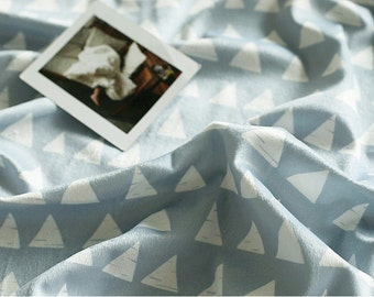 """Triangles Smooth Minky Fabric - White Triangles on Gray - 59"""" Wide - By the Yard 84403"""