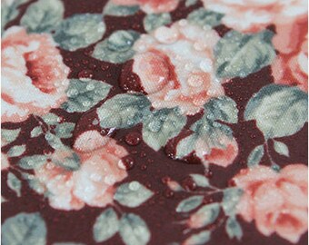 Laminated Flowers Cotton Fabric - Wine - By the Yard 84376