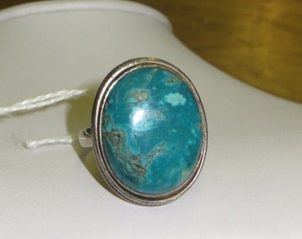 Vintage Native American Sterling Silver Large Turquoise Stone Ring Sz 12