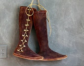 Vintage Knee High Moccasins.  Boho Bohemian Mocs. Hippie Suede Leather Boots. Mukluks. Women's Size 8.5 - 9 | The Curious Moose