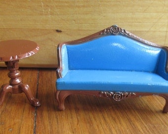 Littles Vintage 1980 Mattel metal blue couch and flip table doll house furniture