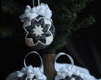 SALE - Black and White Quilted Ornament Trio - No-sew ornament - Home decor, Christmas, RTS, Ready to ship