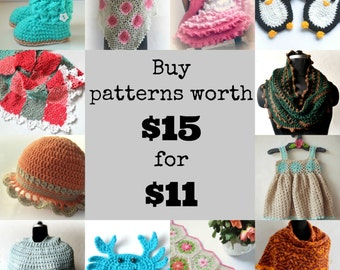 Crochet patterns discount pack, patterns sale offer