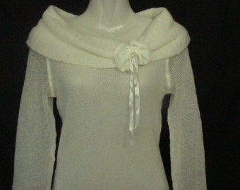 Vintage 90s MEXX White Mohair Off Shoulders Cowl Neck Sweater Size M Lined