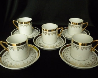 Vintage Mid Century Demitasse Espresso Set White Gold Trim Cup Saucer Set for 5 Made in Japan