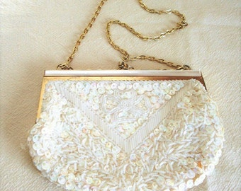 Vintage Beaded Purse - Beaded Evening Bag - Sequined Purse - Fine Arts Bag - Ivory Beaded Purse - Bridal Purse - Wedding Bag