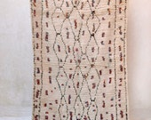 "For POEMS Are LIKE RAINBOWS 6'11"" x 4'8"" Boucherouite Rug. Tapis Moroccan. Mid Century Modern Danish Design Compliment."