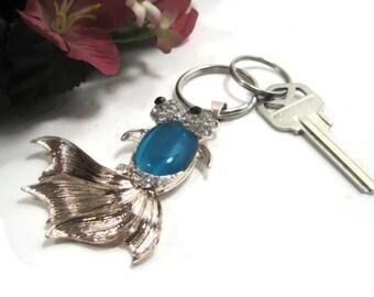 Jeweled Fish Keyring - Niagra Blue Key Ring - Enameled Keychain - Key Chain