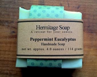 Peppermint Eucalyptus Soap: Cold Process Soap, Vegan soap,  Palm Free soap, Handmade Soap, natural soap, essential oil soap