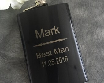 Valentines Day Gift, Gift for Him,Personalized Groomsmen Gifts, Engraved Flasks, Black Engraved Flasks,8 oz. Hip Flask