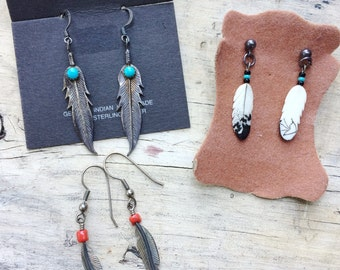 Lot of 3 Vintage Native American Feather Earrings Turquoise & Silver